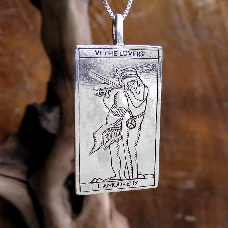 Tarot Lovers Card Pendant Silver