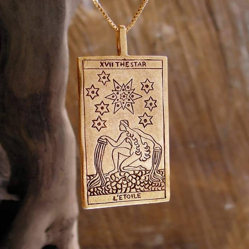 Tarot Star Card Pendant Gold