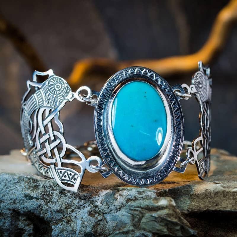 Viking's Freedom Bracelet with Huge Turquoise gemstone