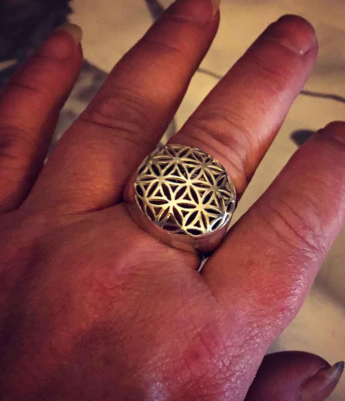 Flower of Life Ring Gold \u2022 Mandala Ring Rose Gold \u2022 Seed of Life Ring Silver \u2022 Gift for Her \u2022 Sacred Geometry Ring \u2022