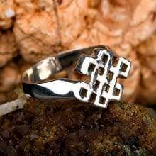 Tibetanischer Knoten Ring Silber