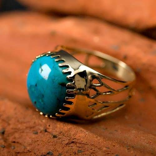 Egyptian Lotus ring gold with Turquoise