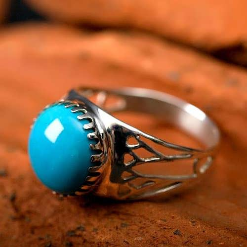 Egyptian Lotus ring silver with Turquoise