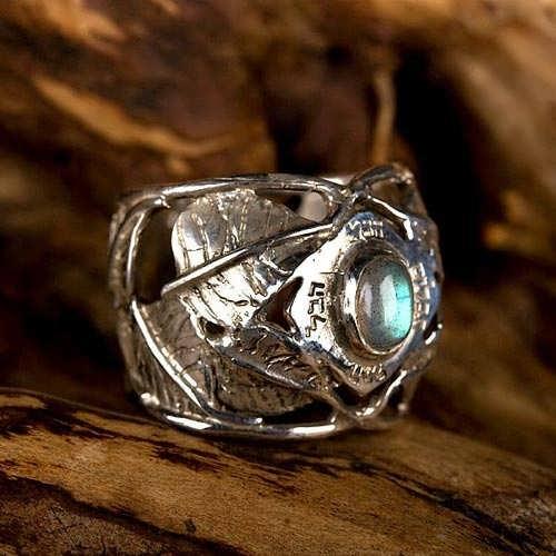 Eingelassene Buddhi - Silberring