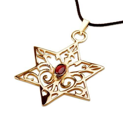 Inlaid Star of david  - Gold with Garnet