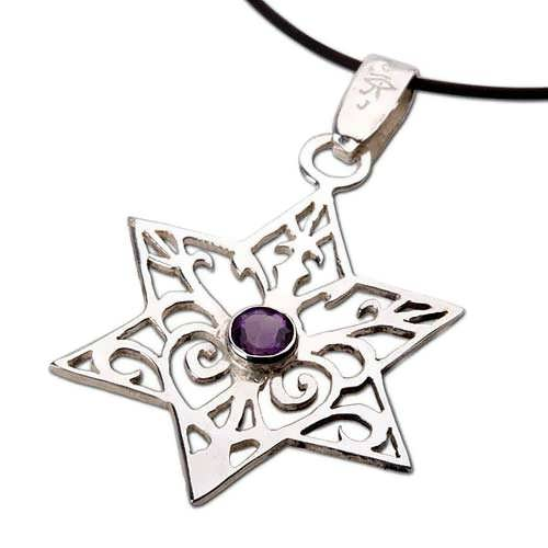 Inlaid Star of david - silver with Amethyst