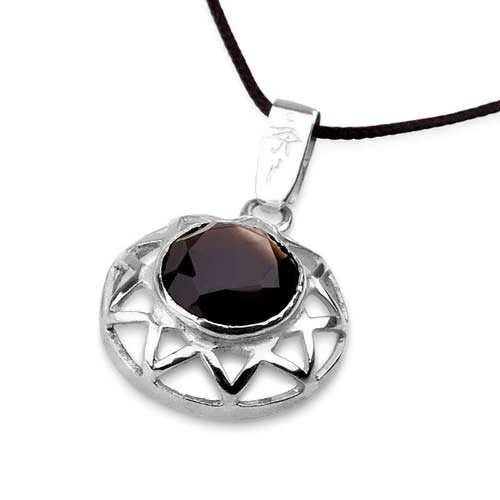 Inlaid Enneagram silver with Smoky Quartz