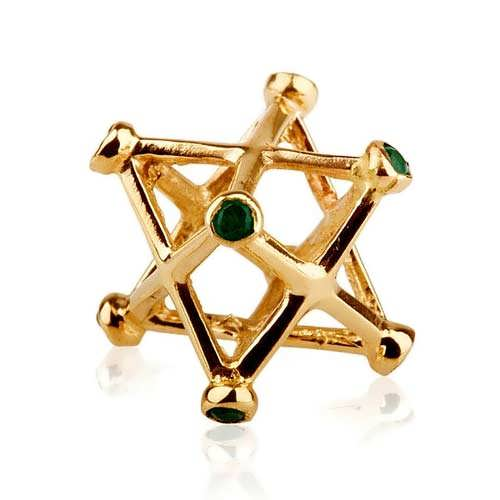 Inlaid Merkaba Gold Medium