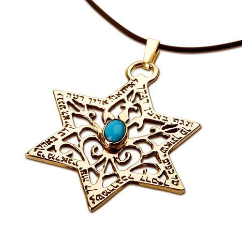 Star of David for protection gold with Turquoise