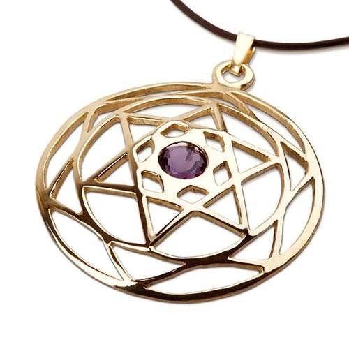 Star of David Mandala gold with Amethyst